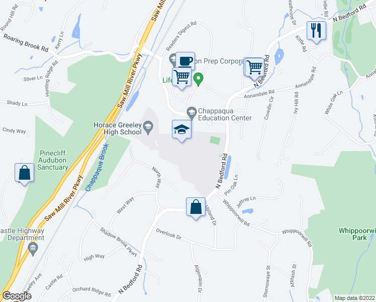 map of restaurants, bars, coffee shops, grocery stores, and more near 70 Roaring Brook Road in Chappaqua