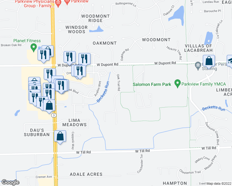 map of restaurants, bars, coffee shops, grocery stores, and more near 10037 Oak Trail Road in Fort Wayne