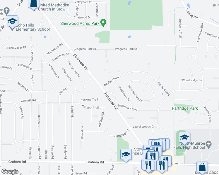 map of restaurants, bars, coffee shops, grocery stores, and more near 4316 Smokerise Drive in Stow