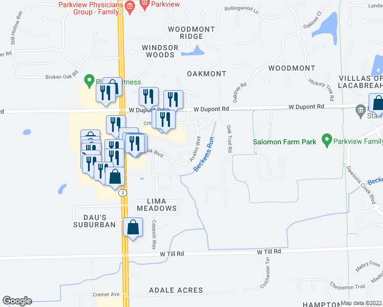 map of restaurants, bars, coffee shops, grocery stores, and more near 10230 Avalon Way in Fort Wayne