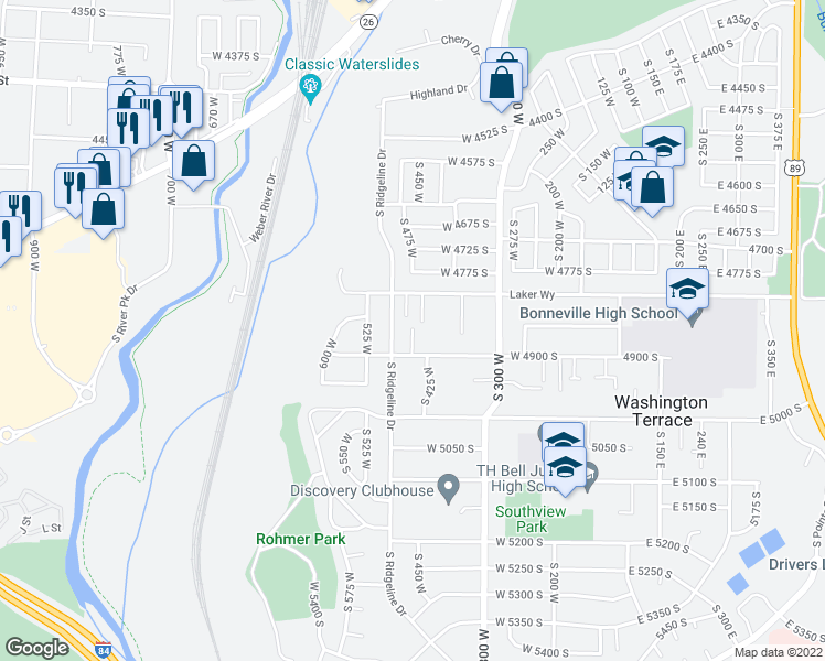 map of restaurants, bars, coffee shops, grocery stores, and more near 4812 South 450 West in Washington Terrace