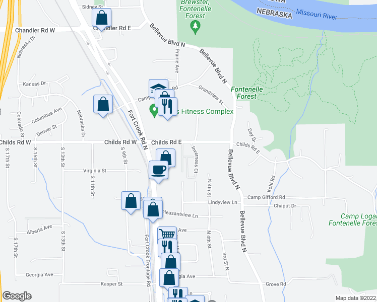 map of restaurants, bars, coffee shops, grocery stores, and more near 2103 Fraser Court in Bellevue