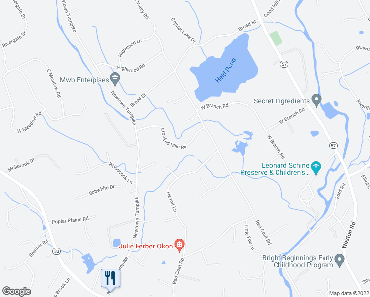 map of restaurants, bars, coffee shops, grocery stores, and more near 16 Crooked Mile Road in Westport