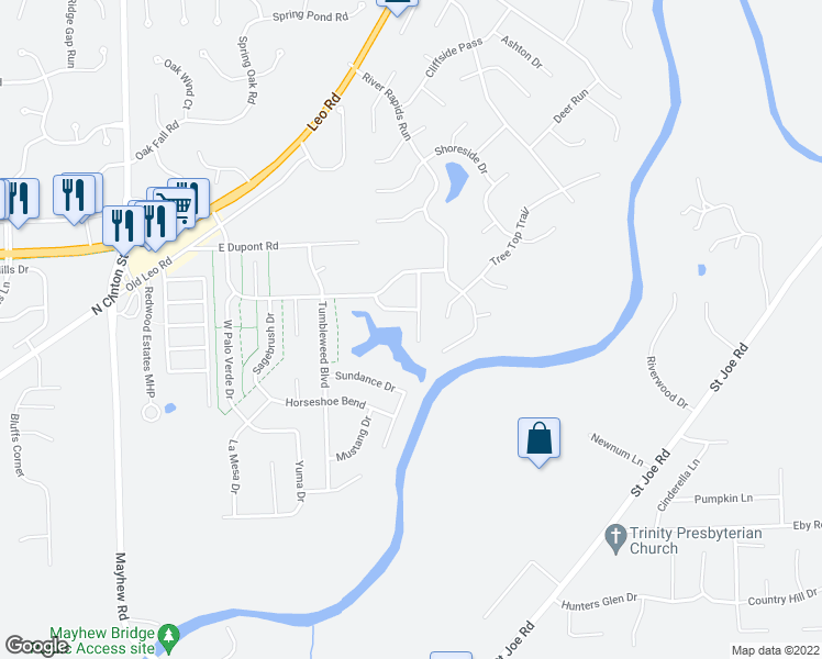map of restaurants, bars, coffee shops, grocery stores, and more near 10119 Clear Creek Court in Fort Wayne