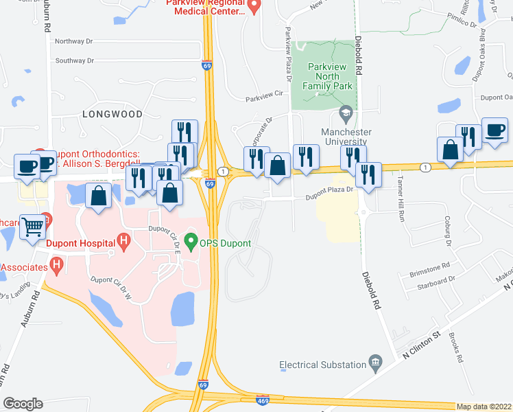 map of restaurants, bars, coffee shops, grocery stores, and more near 3520 East Dupont Road in Fort Wayne