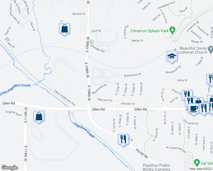 map of restaurants, bars, coffee shops, grocery stores, and more near 10721 Brentwood Drive in La Vista