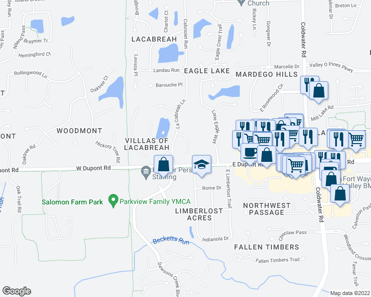 map of restaurants, bars, coffee shops, grocery stores, and more near 10417 Tesoro Cove in Fort Wayne