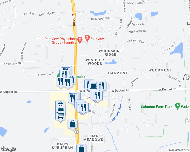 map of restaurants, bars, coffee shops, grocery stores, and more near Wadsworth Court in Fort Wayne