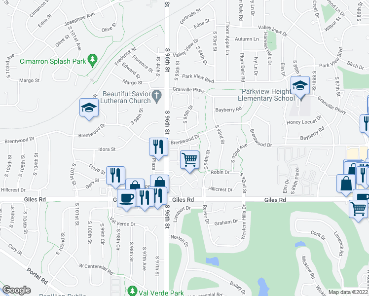 map of restaurants, bars, coffee shops, grocery stores, and more near 9501 Brentwood Drive in La Vista