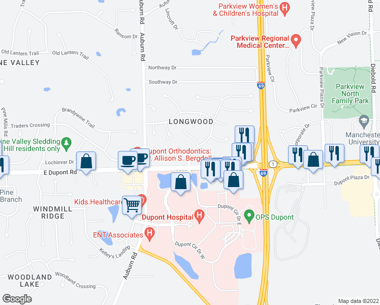 map of restaurants, bars, coffee shops, grocery stores, and more near Longwood Drive in Fort Wayne