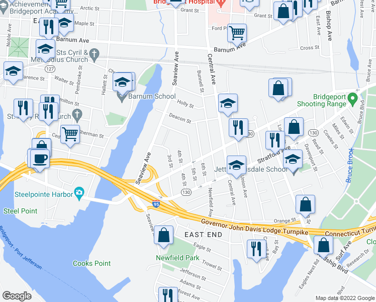 map of restaurants, bars, coffee shops, grocery stores, and more near 173 5th Street in Bridgeport