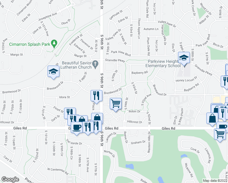 map of restaurants, bars, coffee shops, grocery stores, and more near Brentwood Drive in La Vista