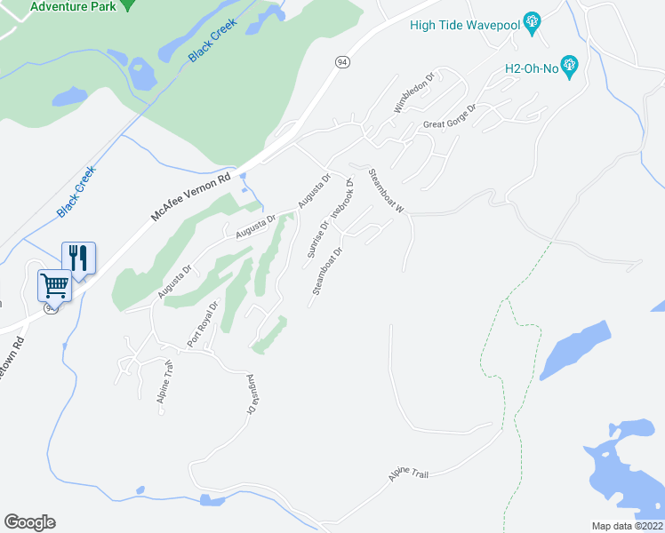 map of restaurants, bars, coffee shops, grocery stores, and more near 3 Steamboat Drive in Vernon Township