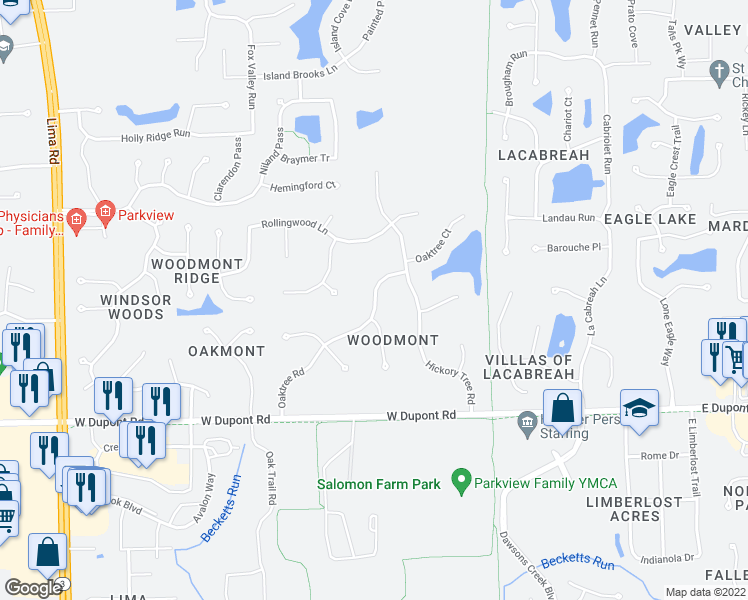 map of restaurants, bars, coffee shops, grocery stores, and more near Oaktree Road in Fort Wayne