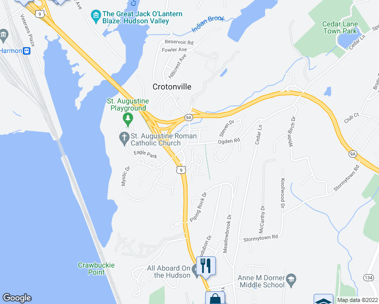 map of restaurants, bars, coffee shops, grocery stores, and more near 2 Brooke Club Drive in Ossining
