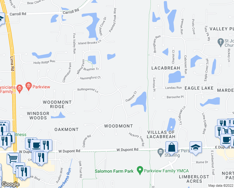 map of restaurants, bars, coffee shops, grocery stores, and more near 801 Rollingwood Lane in Fort Wayne