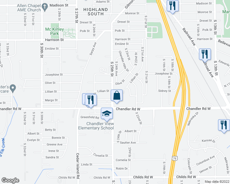 map of restaurants, bars, coffee shops, grocery stores, and more near 7501 South 25th Street in Bellevue