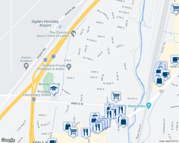 map of restaurants, bars, coffee shops, grocery stores, and more near 4200 South in Ogden