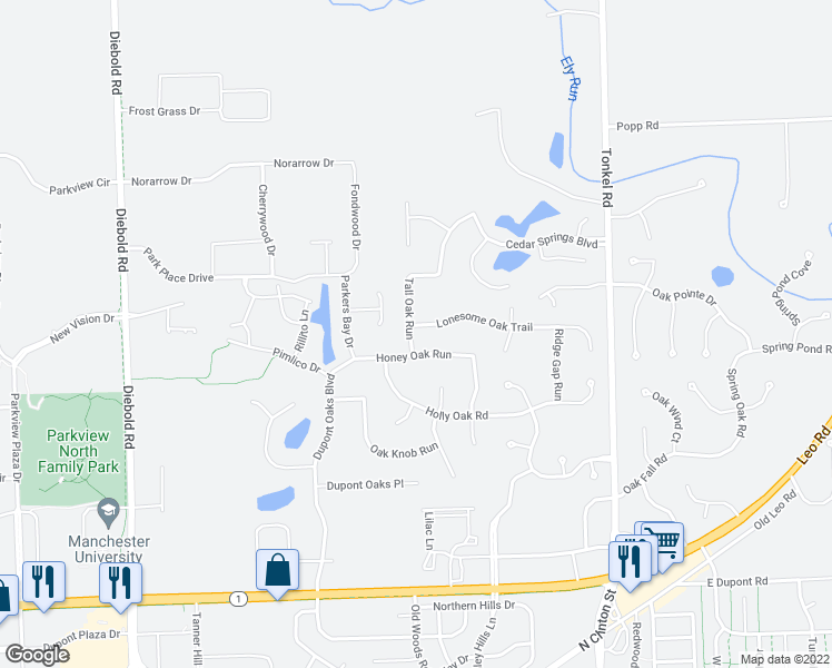 map of restaurants, bars, coffee shops, grocery stores, and more near 4904 Lonesome Oak Trail in Fort Wayne