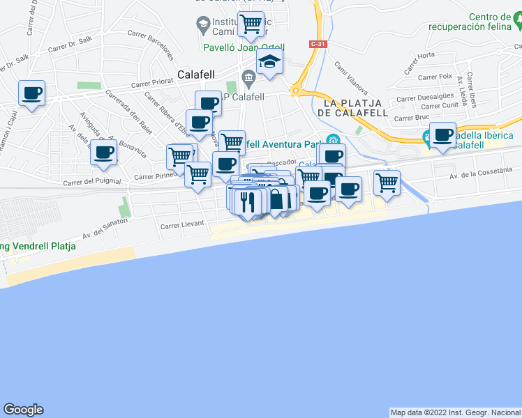 map of restaurants, bars, coffee shops, grocery stores, and more near in Calafell