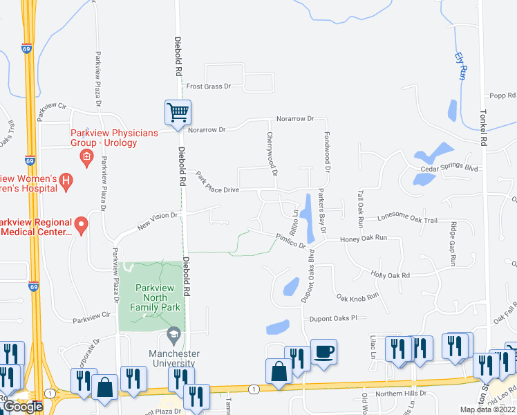 map of restaurants, bars, coffee shops, grocery stores, and more near 11275 Sportsman Park Lane in Fort Wayne