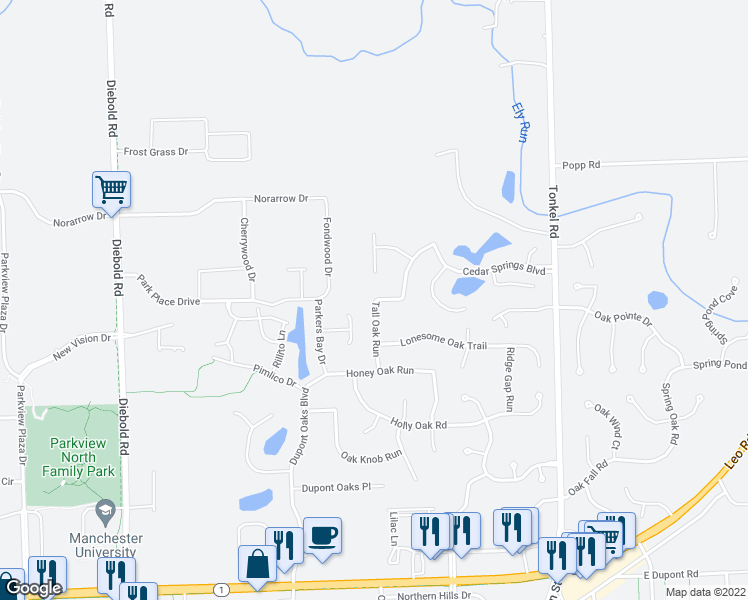 map of restaurants, bars, coffee shops, grocery stores, and more near 11408 Tall Oak Run in Fort Wayne