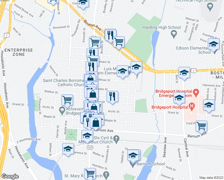 map of restaurants, bars, coffee shops, grocery stores, and more near 612 Ogden Street in Bridgeport