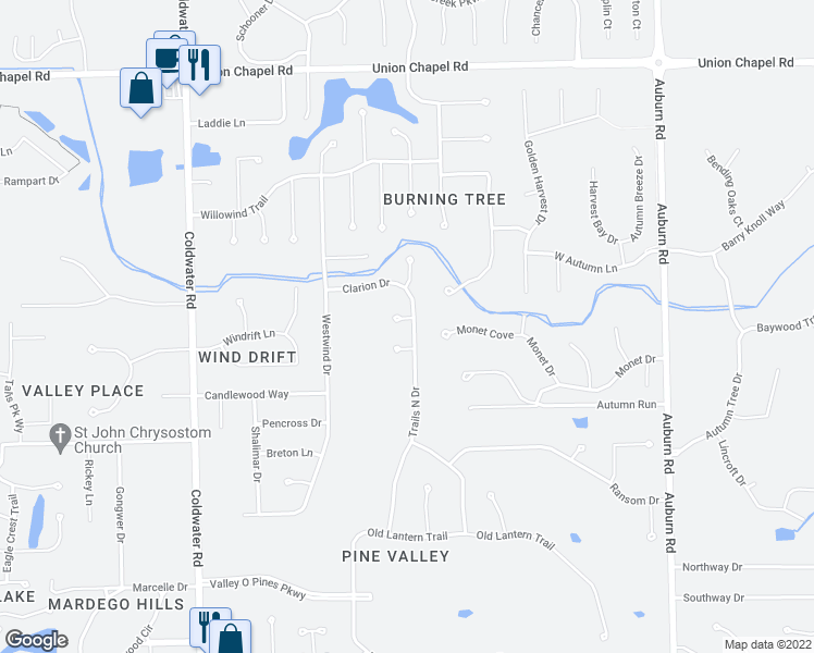 map of restaurants, bars, coffee shops, grocery stores, and more near 11605 Trails North Drive in Fort Wayne