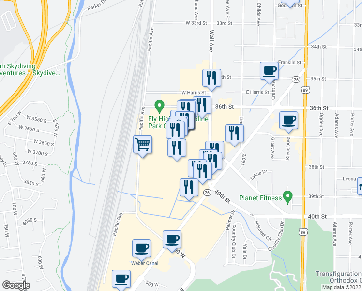 map of restaurants, bars, coffee shops, grocery stores, and more near 3651 Wall Avenue in Ogden