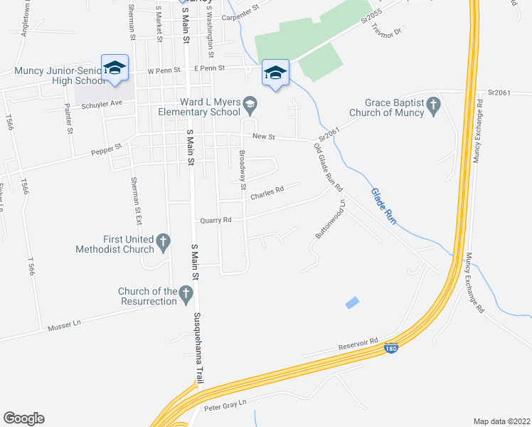 map of restaurants, bars, coffee shops, grocery stores, and more near Quarry Road in Muncy