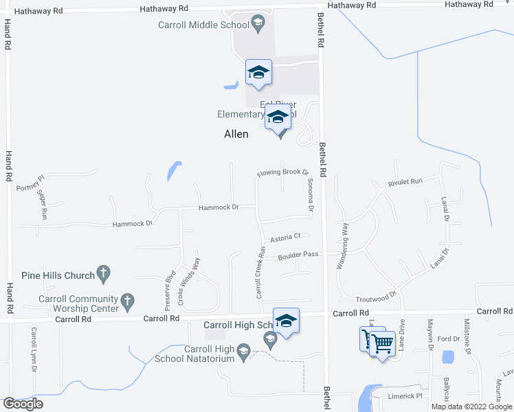 map of restaurants, bars, coffee shops, grocery stores, and more near Hammock Drive in Fort Wayne