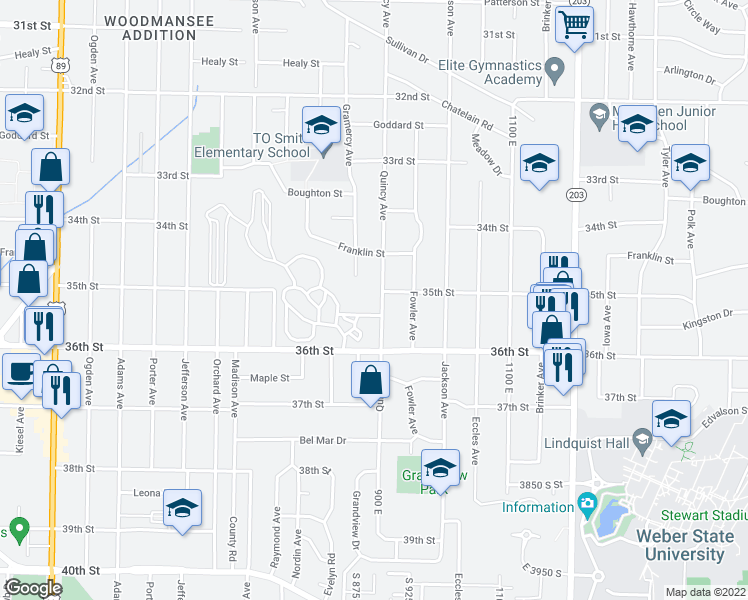 map of restaurants, bars, coffee shops, grocery stores, and more near 3511 Quincy Avenue in Ogden