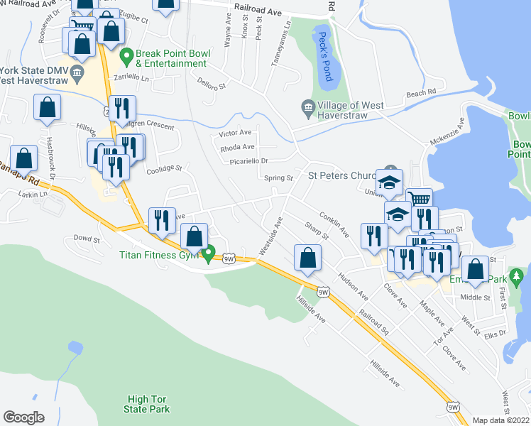 map of restaurants, bars, coffee shops, grocery stores, and more near Anness Drive in Haverstraw