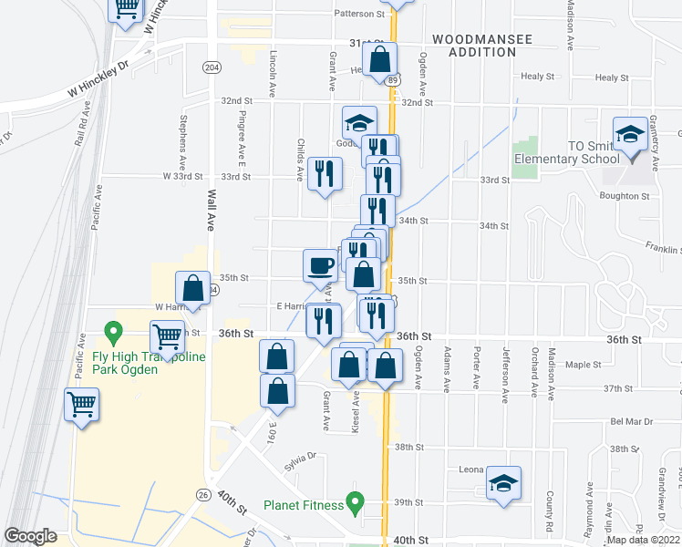 map of restaurants, bars, coffee shops, grocery stores, and more near 316 35th Street in Ogden