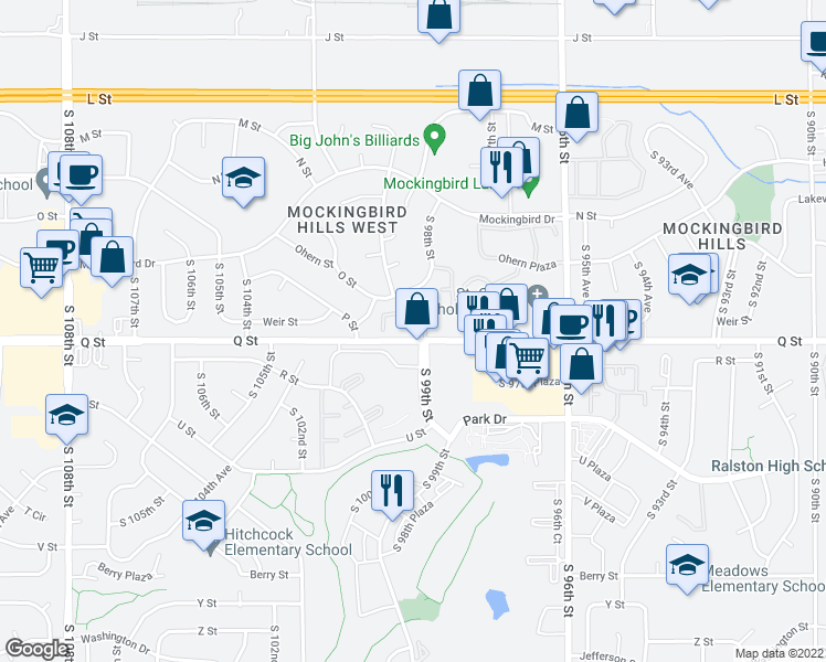 map of restaurants, bars, coffee shops, grocery stores, and more near 9910 Q Street in Omaha