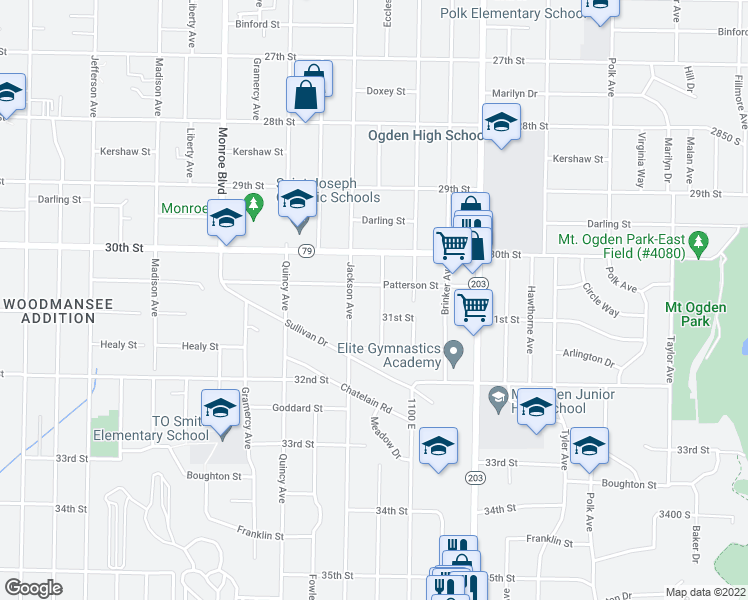 map of restaurants, bars, coffee shops, grocery stores, and more near 3071 Eccles Avenue in Ogden