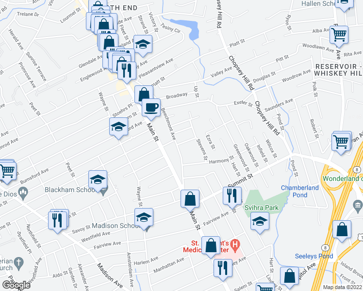 map of restaurants, bars, coffee shops, grocery stores, and more near 30 Quarry Street in Bridgeport