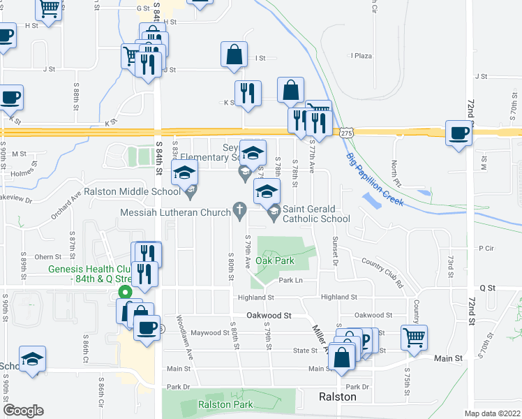 map of restaurants, bars, coffee shops, grocery stores, and more near Lakeview Street in Omaha