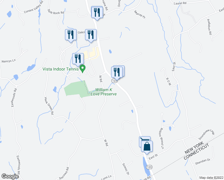map of restaurants, bars, coffee shops, grocery stores, and more near 16 West Road in South Salem