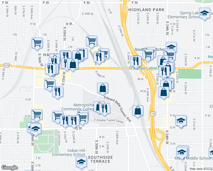 map of restaurants, bars, coffee shops, grocery stores, and more near 4920 South 30th Street in Omaha