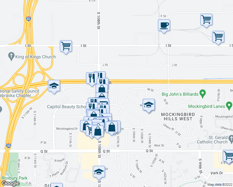 map of restaurants, bars, coffee shops, grocery stores, and more near 4800-4902 South 107th Avenue in Omaha