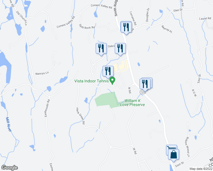 map of restaurants, bars, coffee shops, grocery stores, and more near 265 Maplewood Drive in South Salem