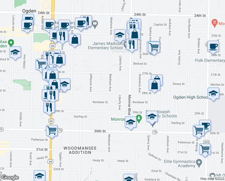map of restaurants, bars, coffee shops, grocery stores, and more near 2780 Madison Avenue in Ogden