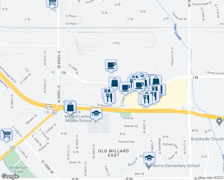 map of restaurants, bars, coffee shops, grocery stores, and more near 10 in Omaha