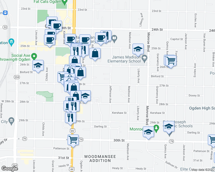 map of restaurants, bars, coffee shops, grocery stores, and more near 579 27th Street in Ogden
