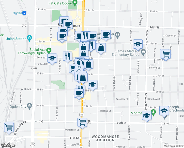 map of restaurants, bars, coffee shops, grocery stores, and more near 461 27th Street in Ogden