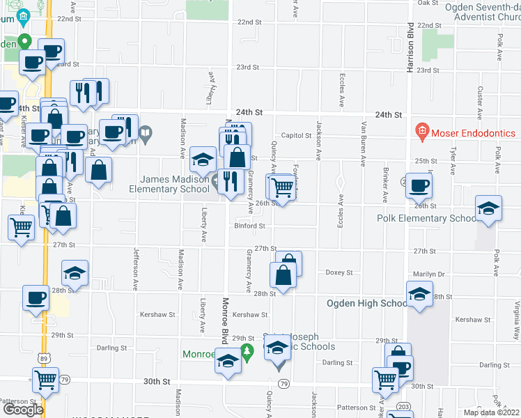 map of restaurants, bars, coffee shops, grocery stores, and more near 867 26th Street in Ogden