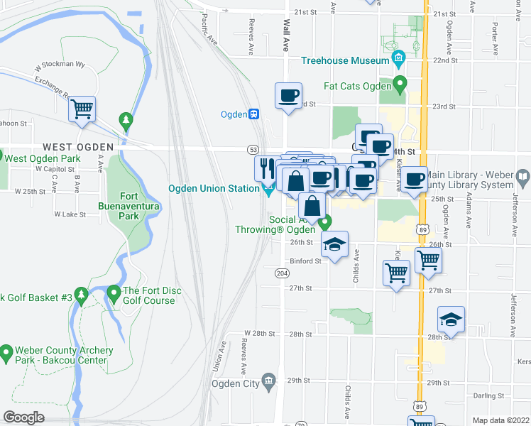 map of restaurants, bars, coffee shops, grocery stores, and more near 2501 Wall Avenue in Ogden