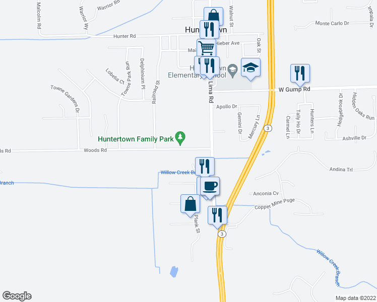 map of restaurants, bars, coffee shops, grocery stores, and more near 2229 Woods Road in Fort Wayne