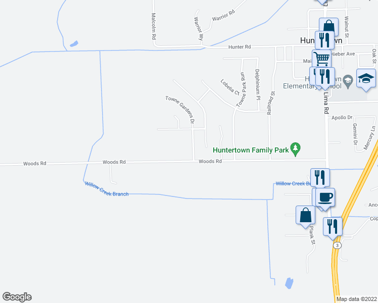 map of restaurants, bars, coffee shops, grocery stores, and more near 14917 Towne Gardens Drive in Huntertown